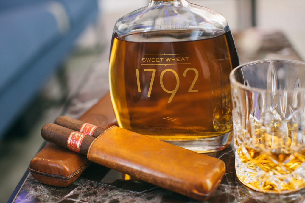1792 Sweet Wheat Bourbon paired with a Daniel Marshall Red Label cigar